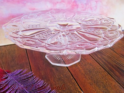 Beautiful Vintage Pressed Glass Pedestal Cake Plate Stand