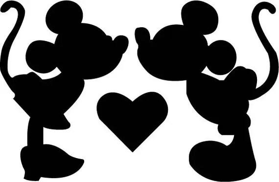 Download Disney Minnie Mickey Kiss SVG Design for Silhouette Studio
