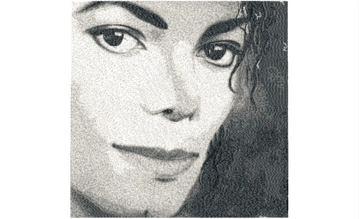 BIG hoop photorealistic MICHAEL Jackson Machine Embroidery Design File, digital download