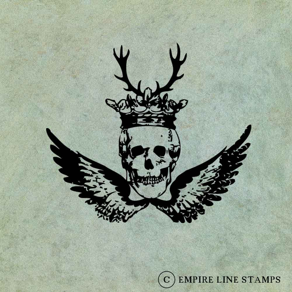 Winged Skull with Crown a...