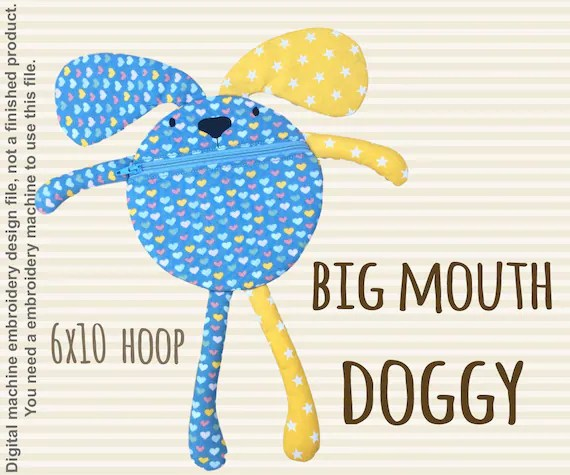 Funny pouch animal - DOGGY - 6x10 hoop - ITH - In The Hoop - Machine Embroidery Design File, digital download