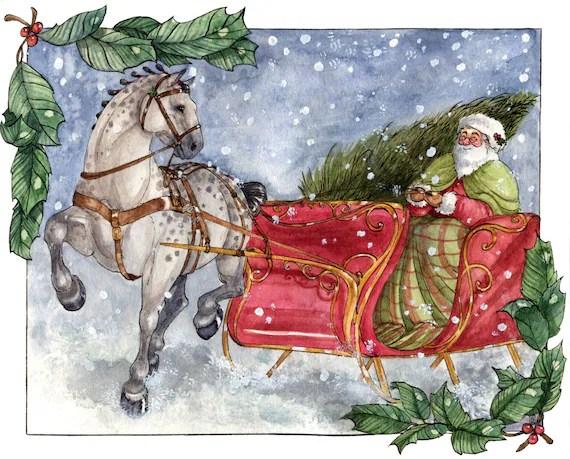Items Similar To Santas Sleigh Original Watercolor