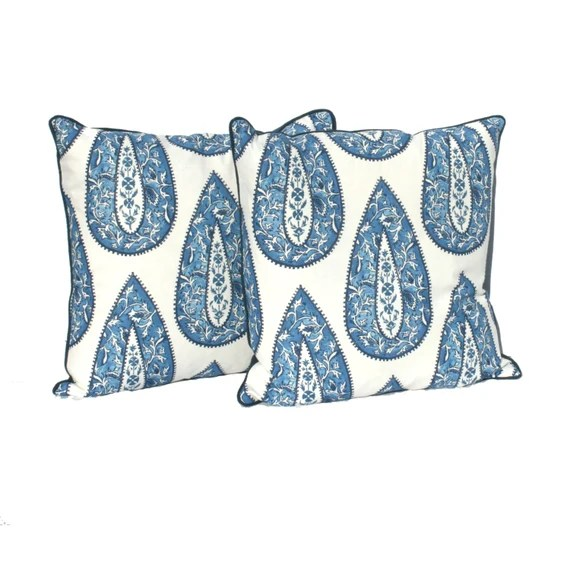 "Decorative Pillow Covers – Cobalt Blue Bindi Designer Fabric- 20"" Pillow covers -Hidden Zipper Closure"