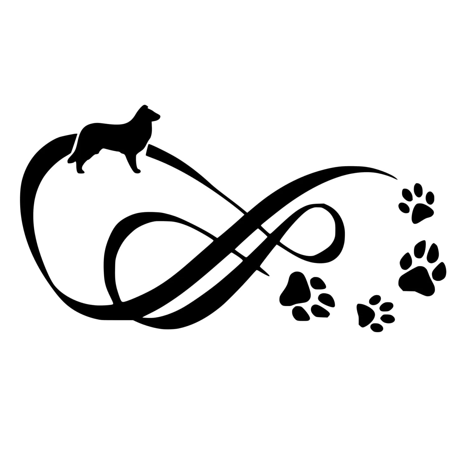 Border Collie Infinity With Paw Prints Cut Decal Car