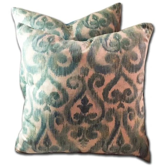 Aqua and Ivory ikat decorative pillow cover