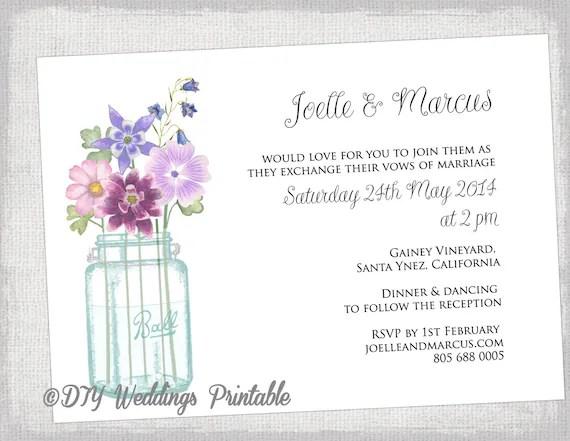 Wedding Invitation Template Mason Jar Printable