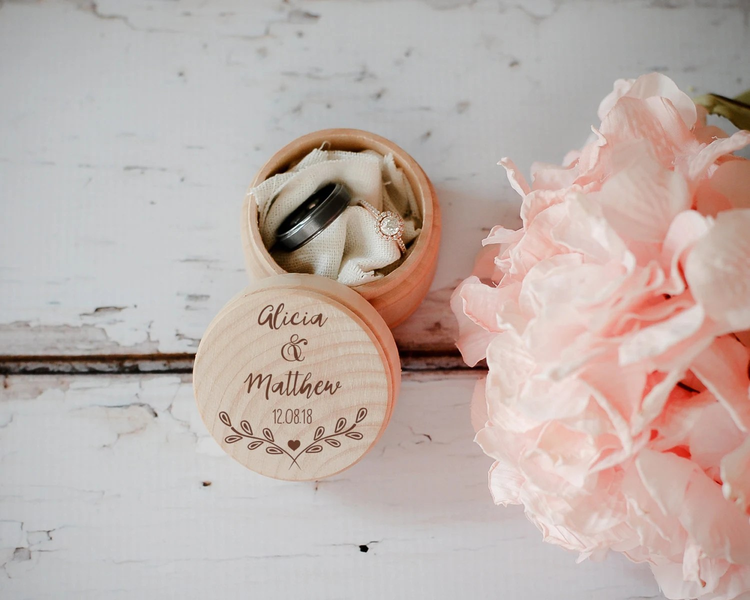 Engraved Wedding Ring Box Wooden Ring Box Wedding Gift Ring