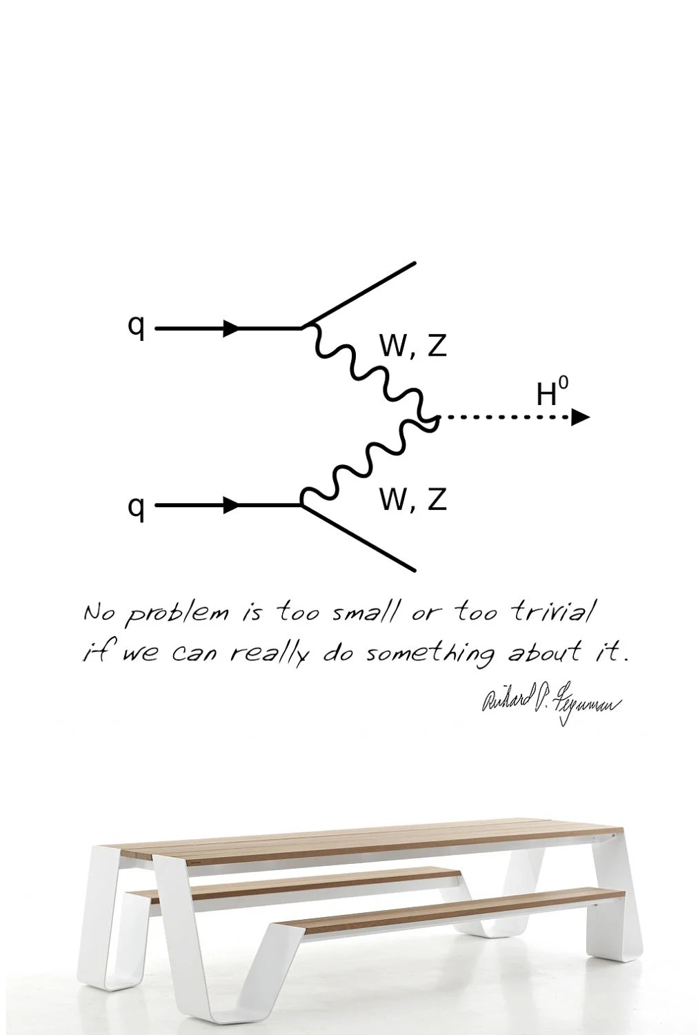 Science art physics QED Feynman diagram and quote vinyl wall