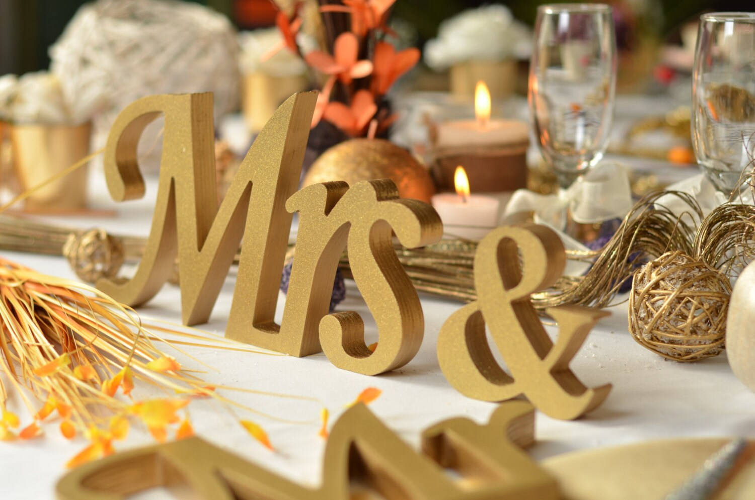 Gold Glitter Mr. & Mrs. Letters Wedding Table Decoration