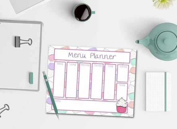 Cupcake Weekly Menu Planner Notepad