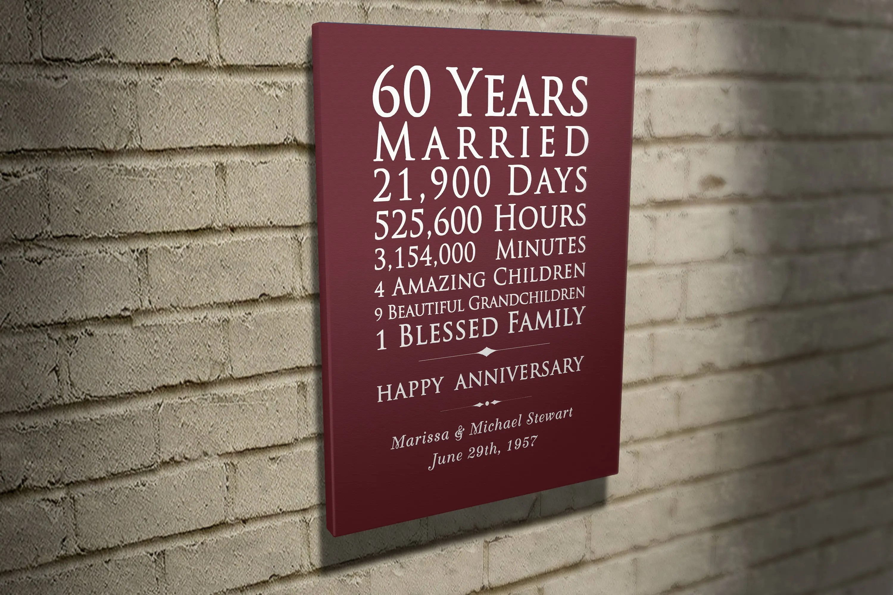 Custom 60 Years Anniversary Gift For Parents 60th Wedding