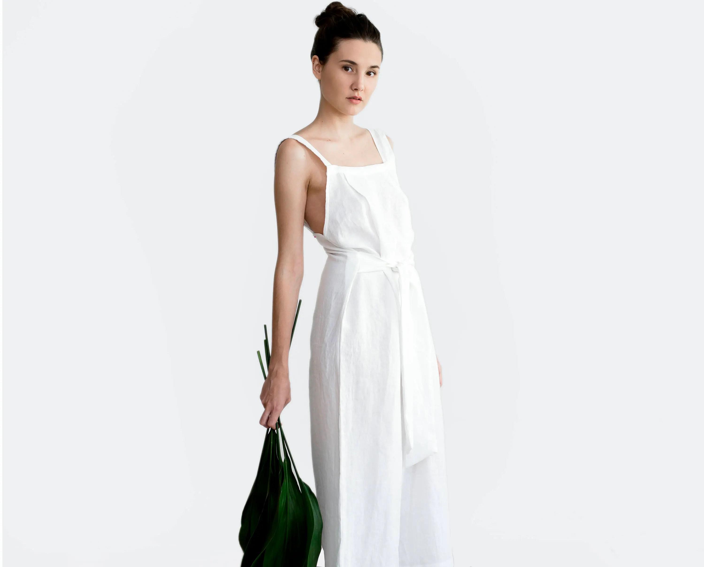 Linen Jumpsuit Linen Overall Wedding Jumpsuit Casual