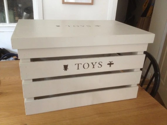 Personalized Wood Toy Crate with Lid