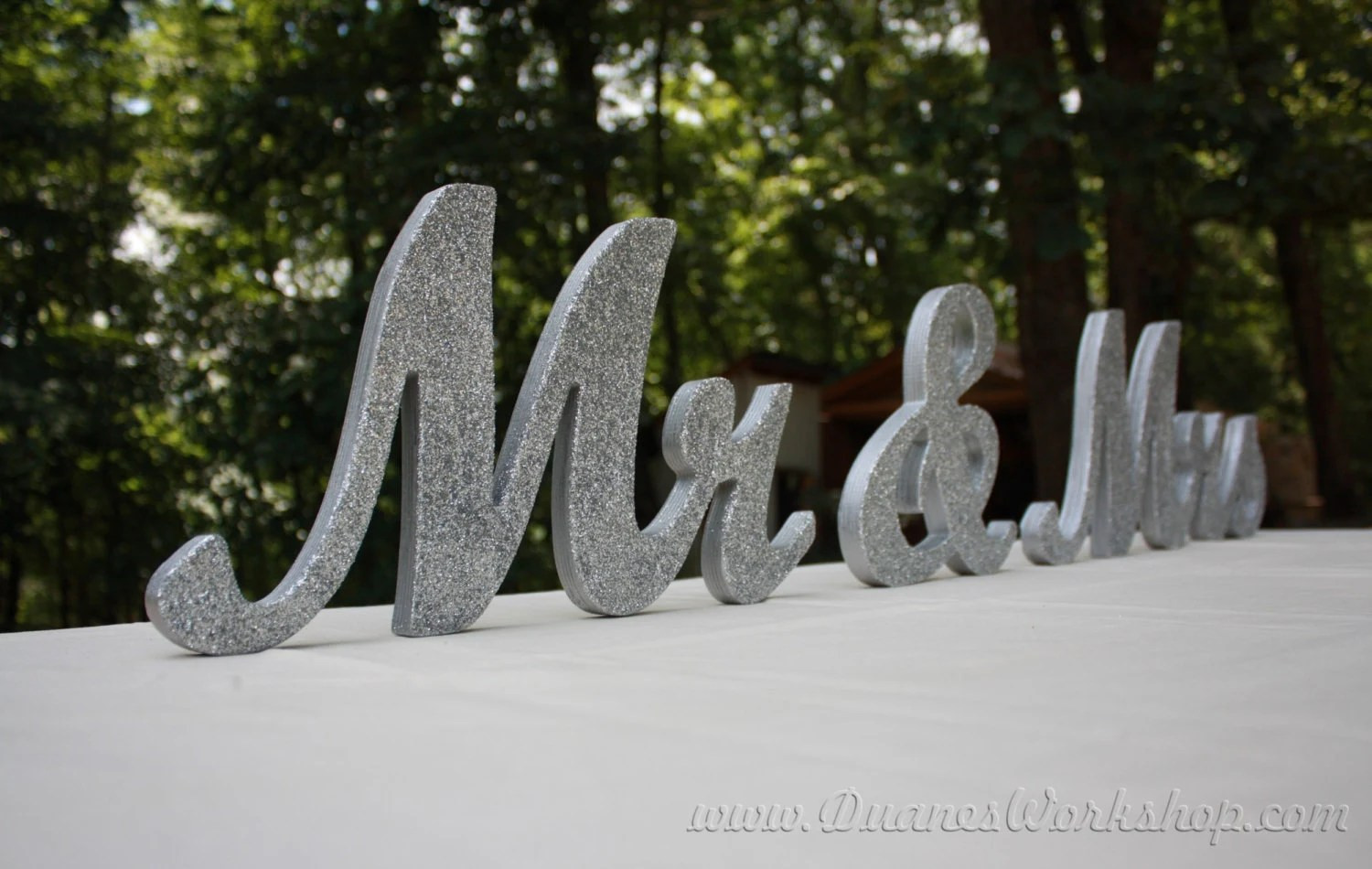 8 Wooden Mr And Mrs Wedding Sign Gold And Silver