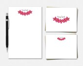 Pink Flowers Stationery -...