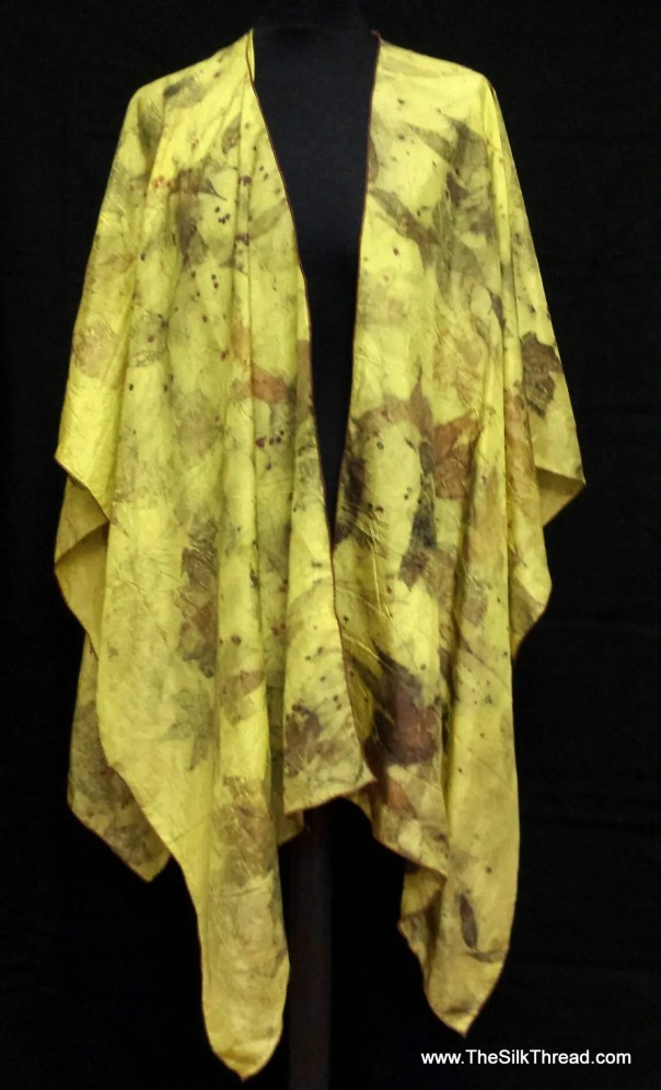 Eco-printed Yellow Silk Wrap, Cape, Poncho, Organic Leaf Designs, Handcrafted by artist, Silky Comfort, Fits All Sizes, FREE Ship USA OOAK