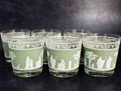 Set of Six Jeanette Hellenic Green Low Ball Old Fashion Glasses: Roman-Greek Motif Jasperware Rocks Glasses