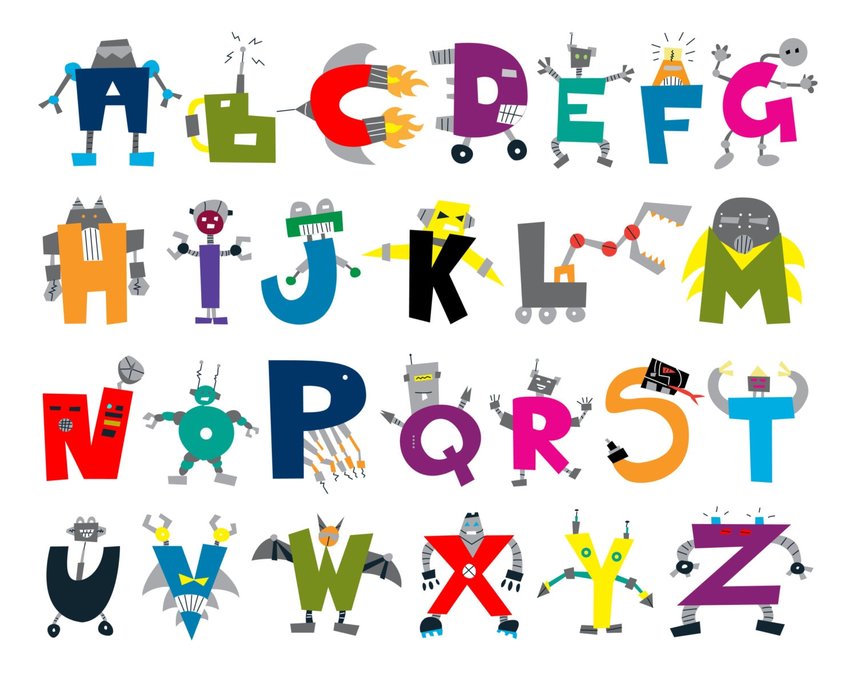 Printable Chidren S Abc Poster Robot Alphabet
