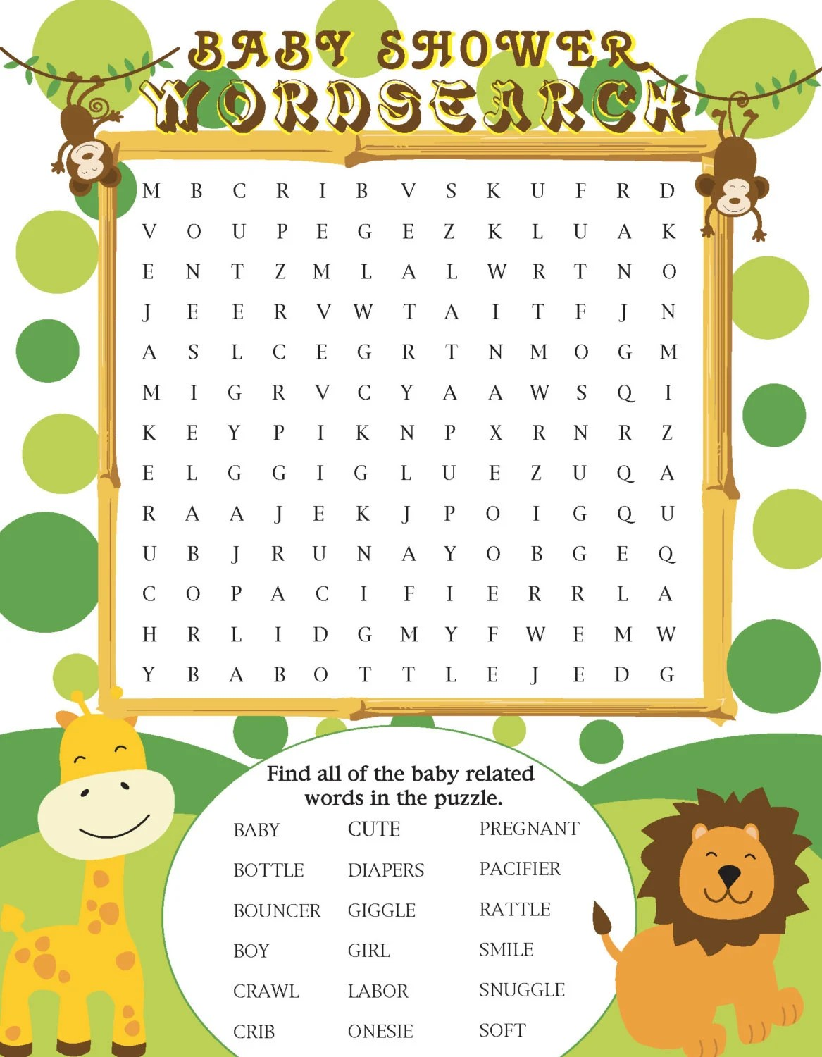 Printable Jungle Themed Baby Shower Word Search