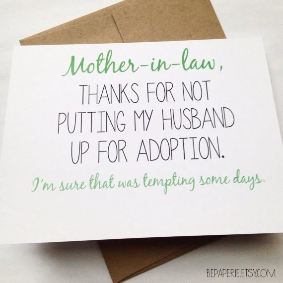 Mother in Law Card Mother's Day Card Mom Birthday Card