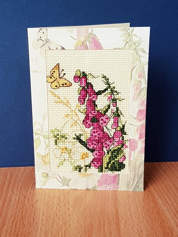 Foxglove attracting a Butterfly ~ Blank Card in Cross Stitch