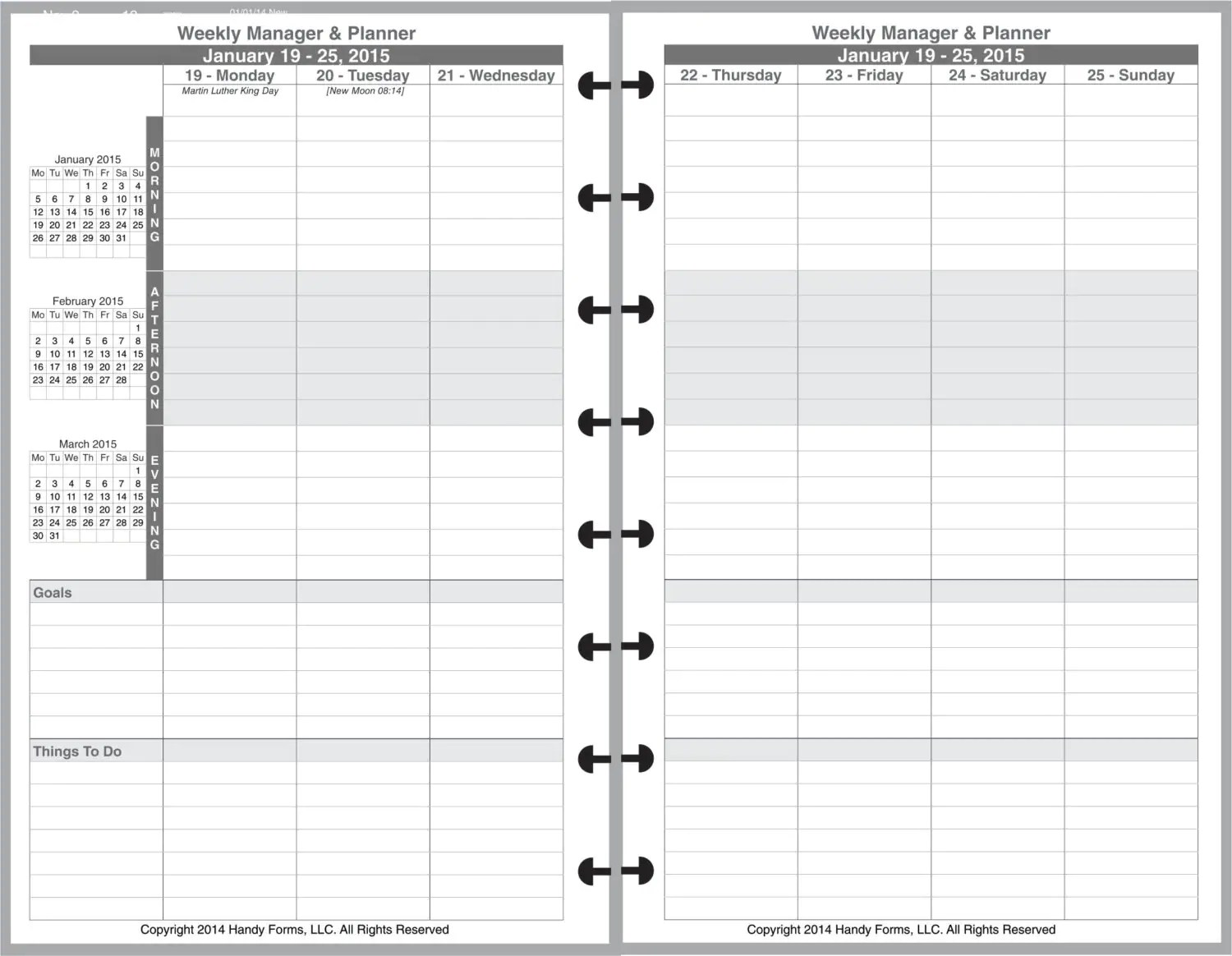 Weekly Manager Planner Organizer 2 Page Per Week 5 1 2 X 8 1 2