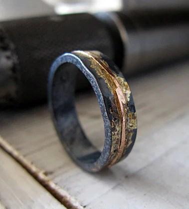 Mens Wedding Band Mens Wedding Ring Oxidized Ring Black Gold