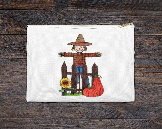 Scarecrow Pencil Case & Accessory Pouch - Perfect Fall Gift for Teachers, Students or Yourself!