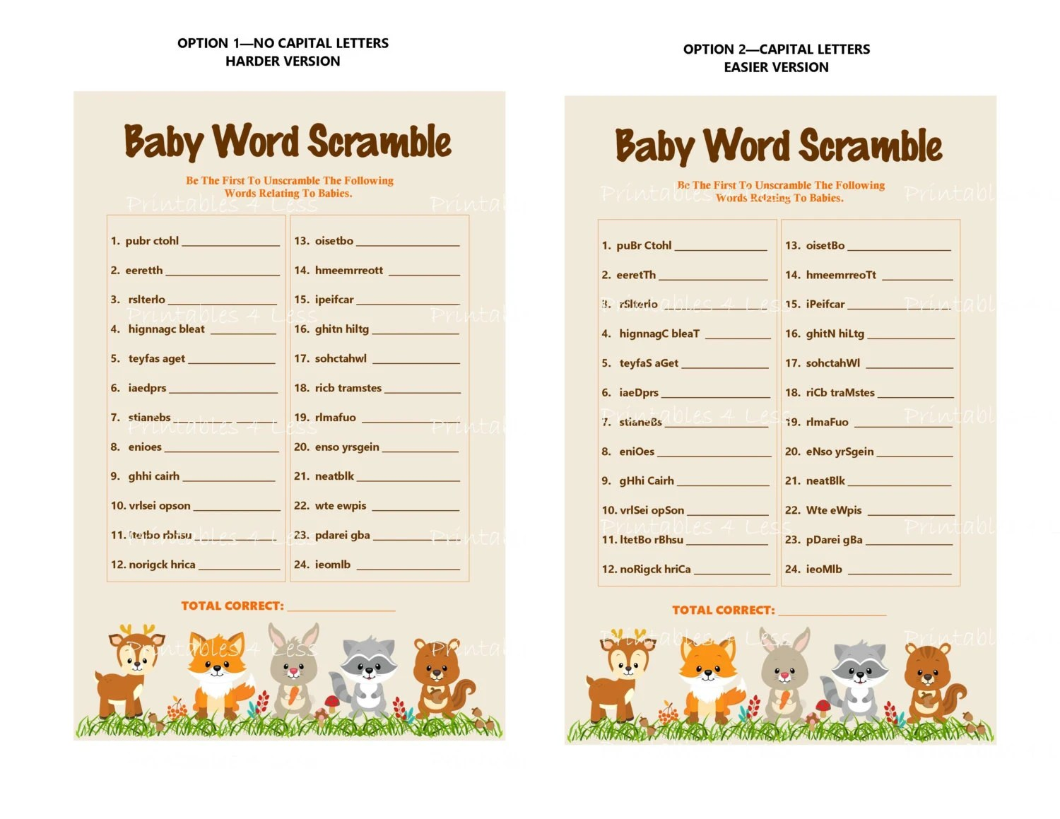 Woodland Word Scramble Baby Word Scramble Game Forest Word