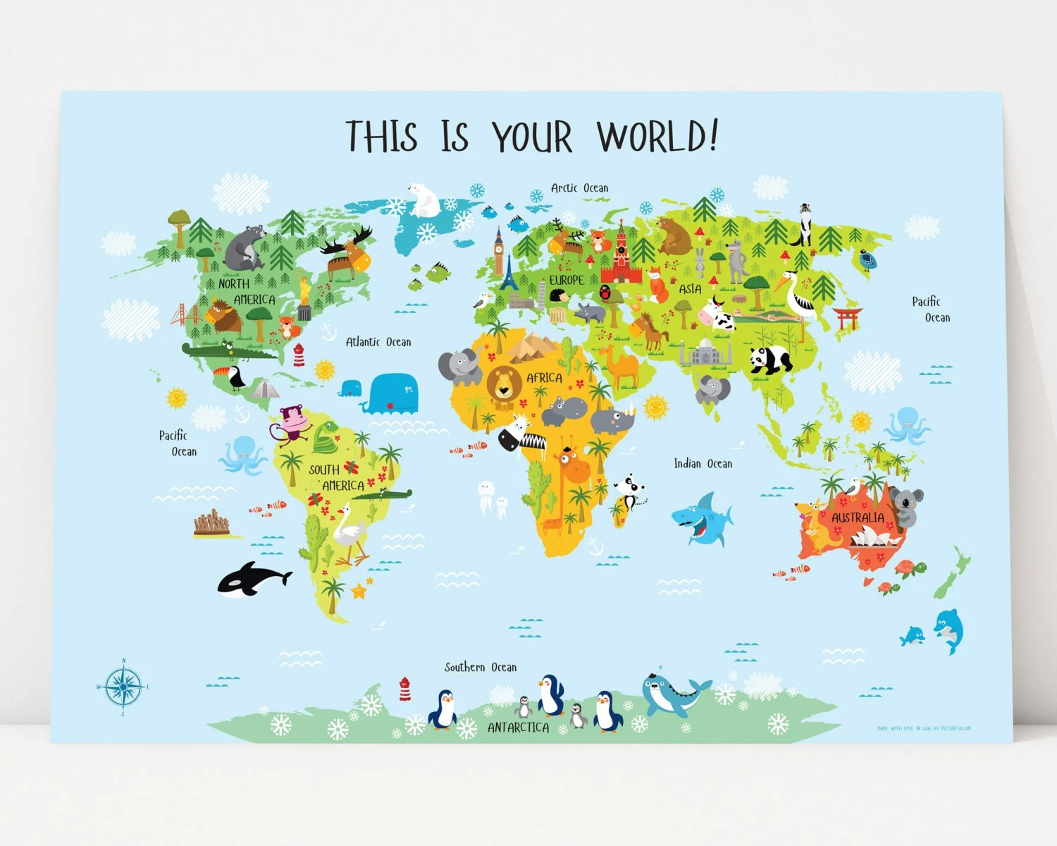 World Map For Kids Instant Download Nursery Decor High