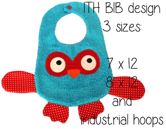 7x12, 8x12 AND industrial hoop sizes included! - BIB - owl - Machine Embroidery Design File, digital download