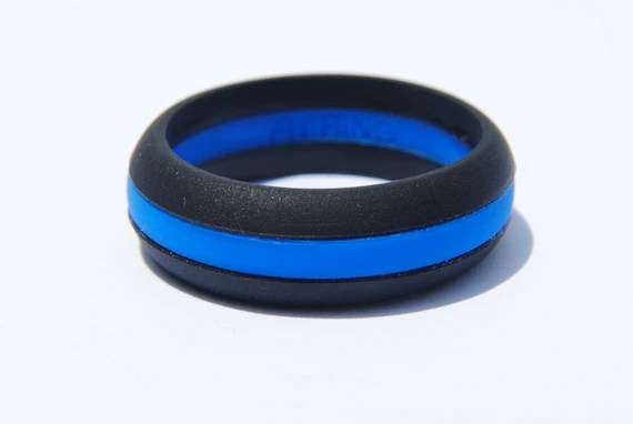 Fit Ring Womens Silicone Wedding Ring Thin Blue Line
