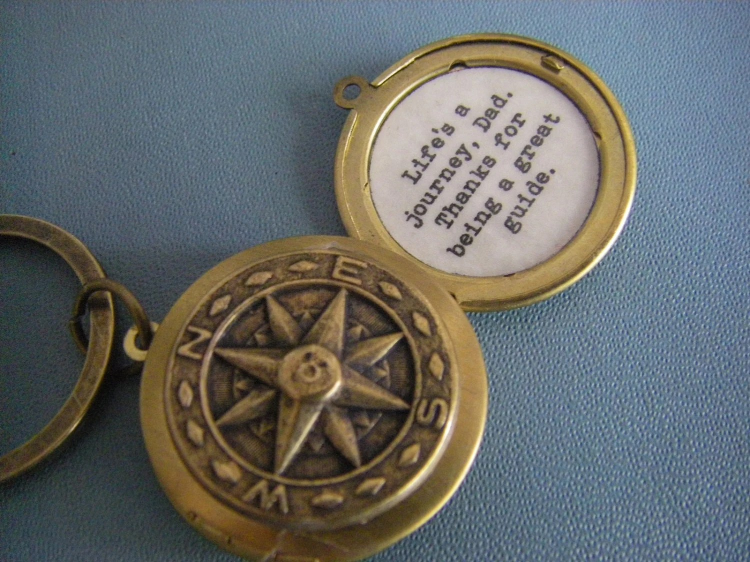 Fathers Day Locket Keychain Compass Quote Life Is A Journey
