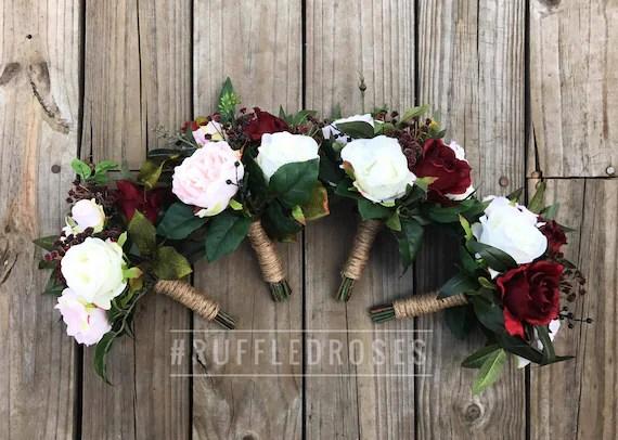 Bridesmaid Bouquet Burgundy Boho Bouquet Bridesmaid Bouquet