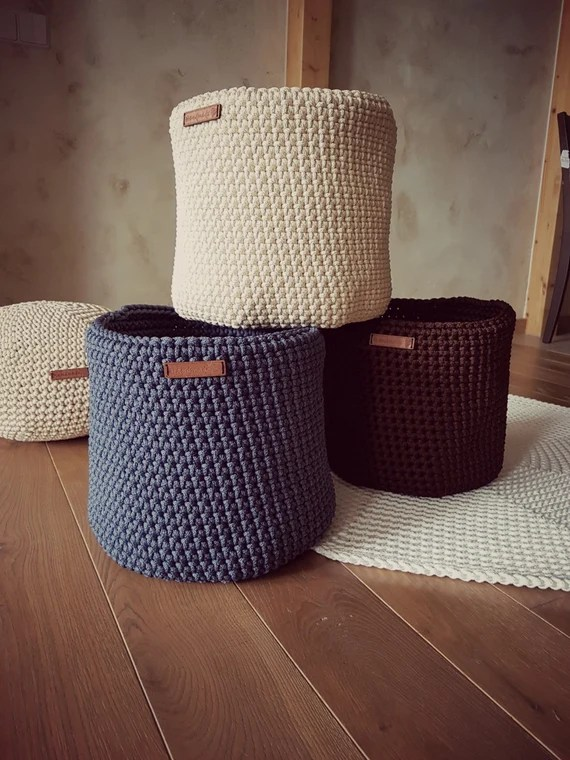 Large Crochet Toy Basket