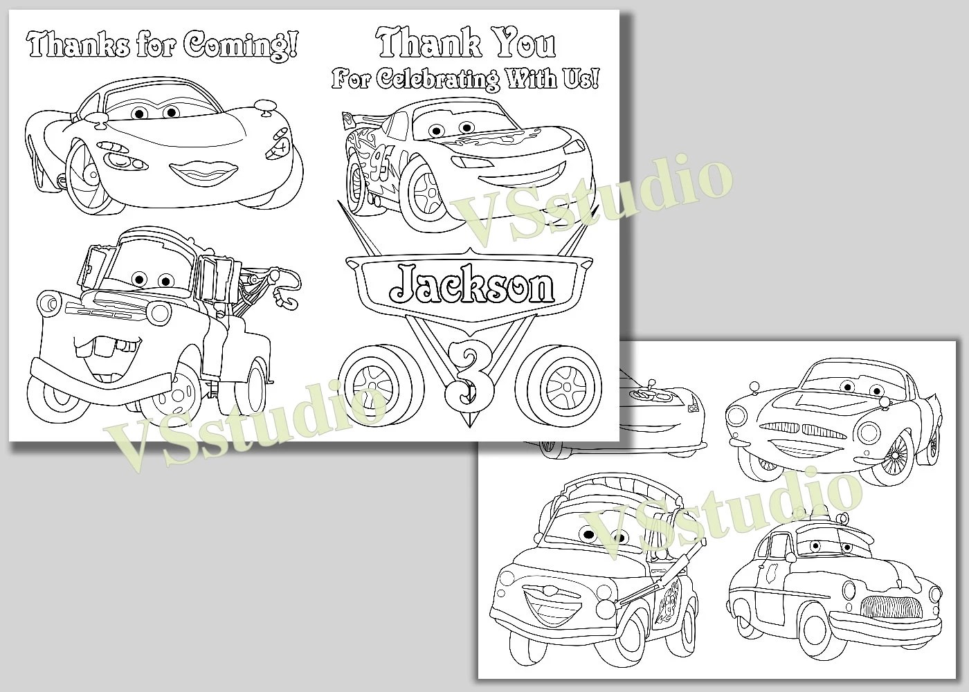 Disney Cars Thank You Coloring Pages Activity Book Pdf File