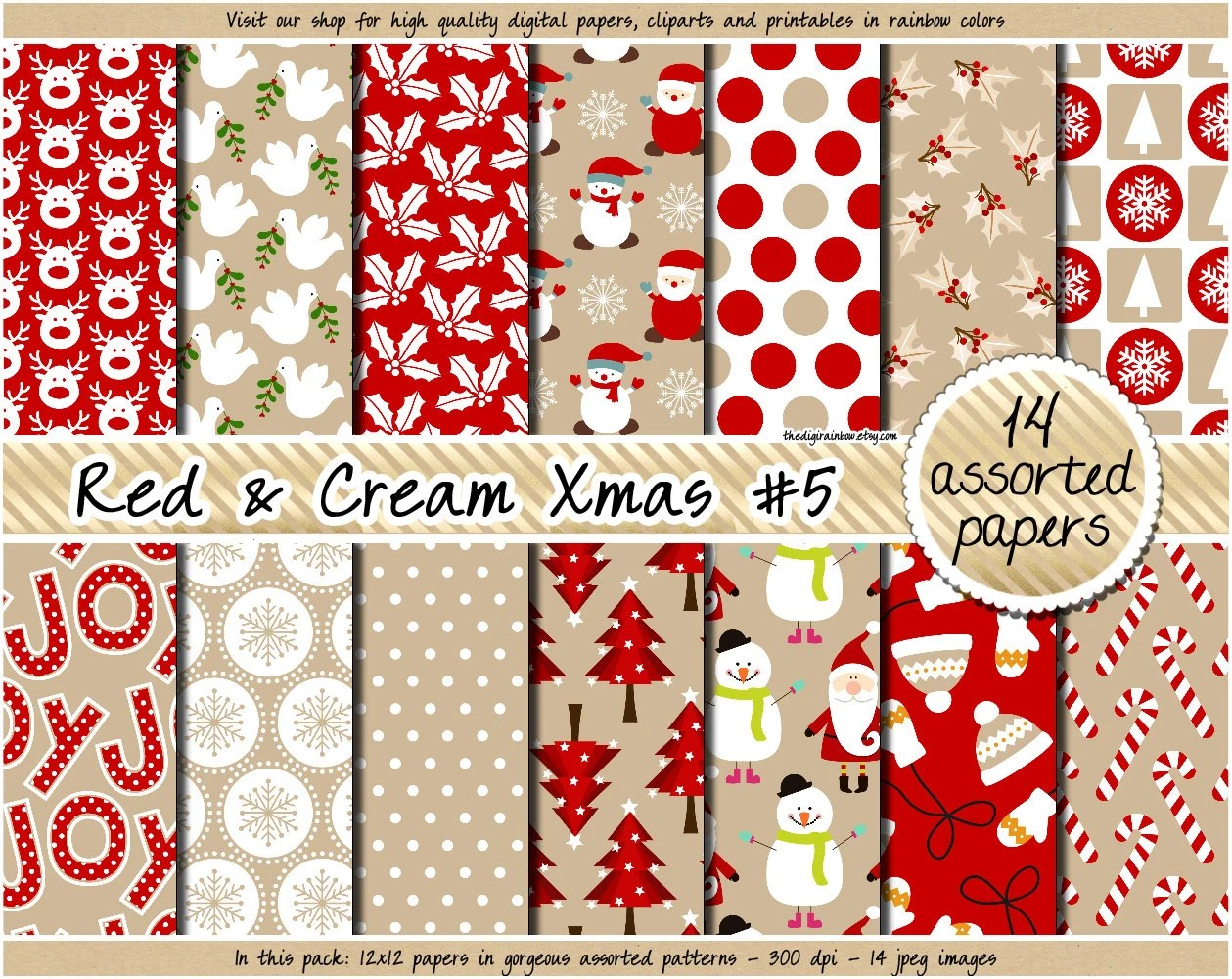 Sale Christmas Digital Paper Christmas Printable Paper Kraft