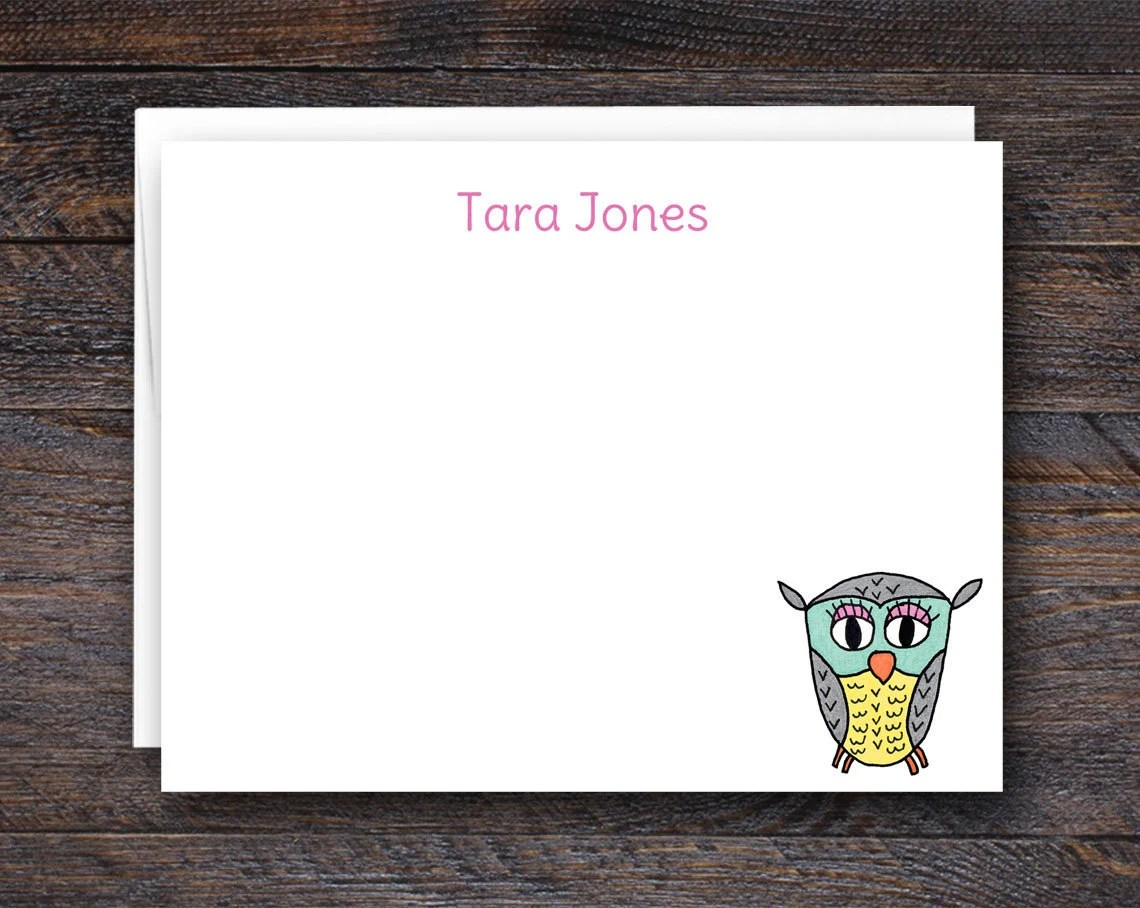 Owl Note Cards - Custom N...