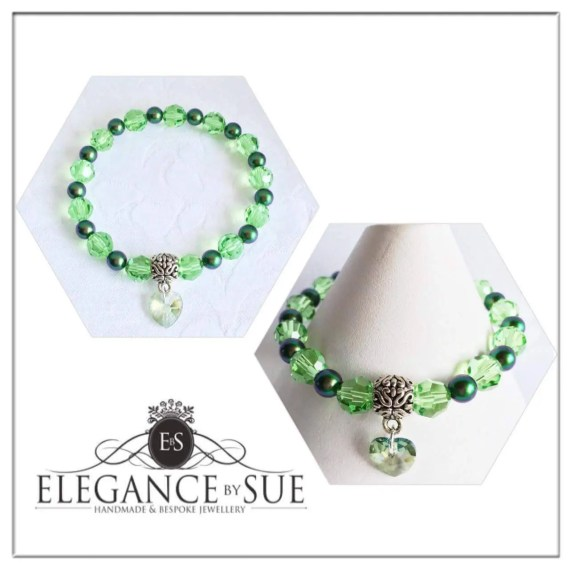Peridot Crystal Bead and Green Pearl Stretch Bracelet