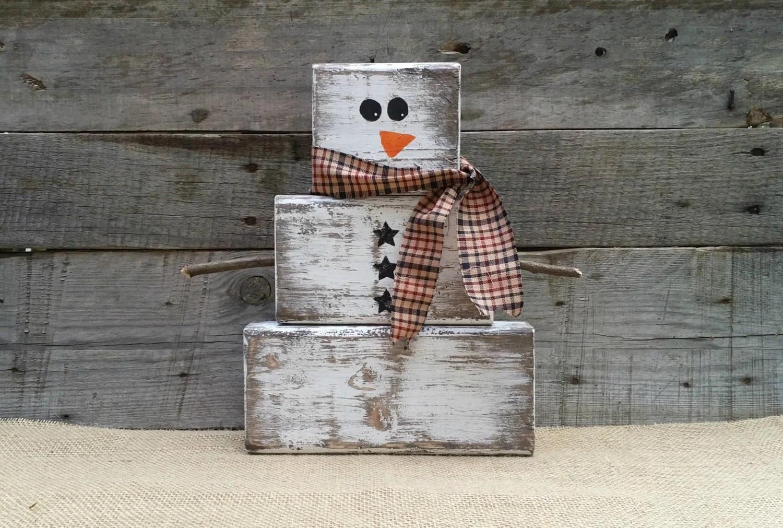 Rustic Wooden Snowman Christmas Decor Block Snowman