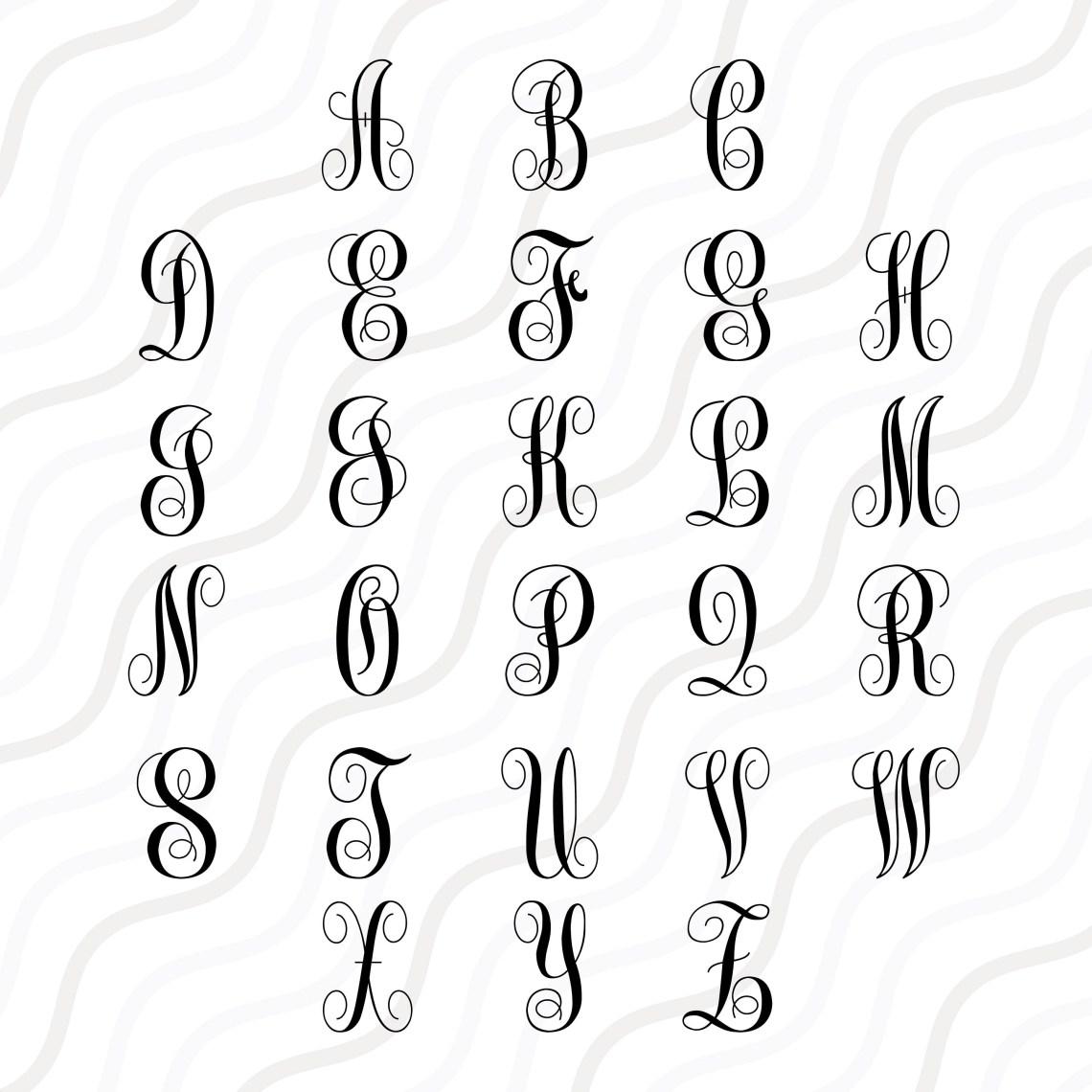 Download Monogram Font2 SVG Cricut Monogram Font SVG Monogram