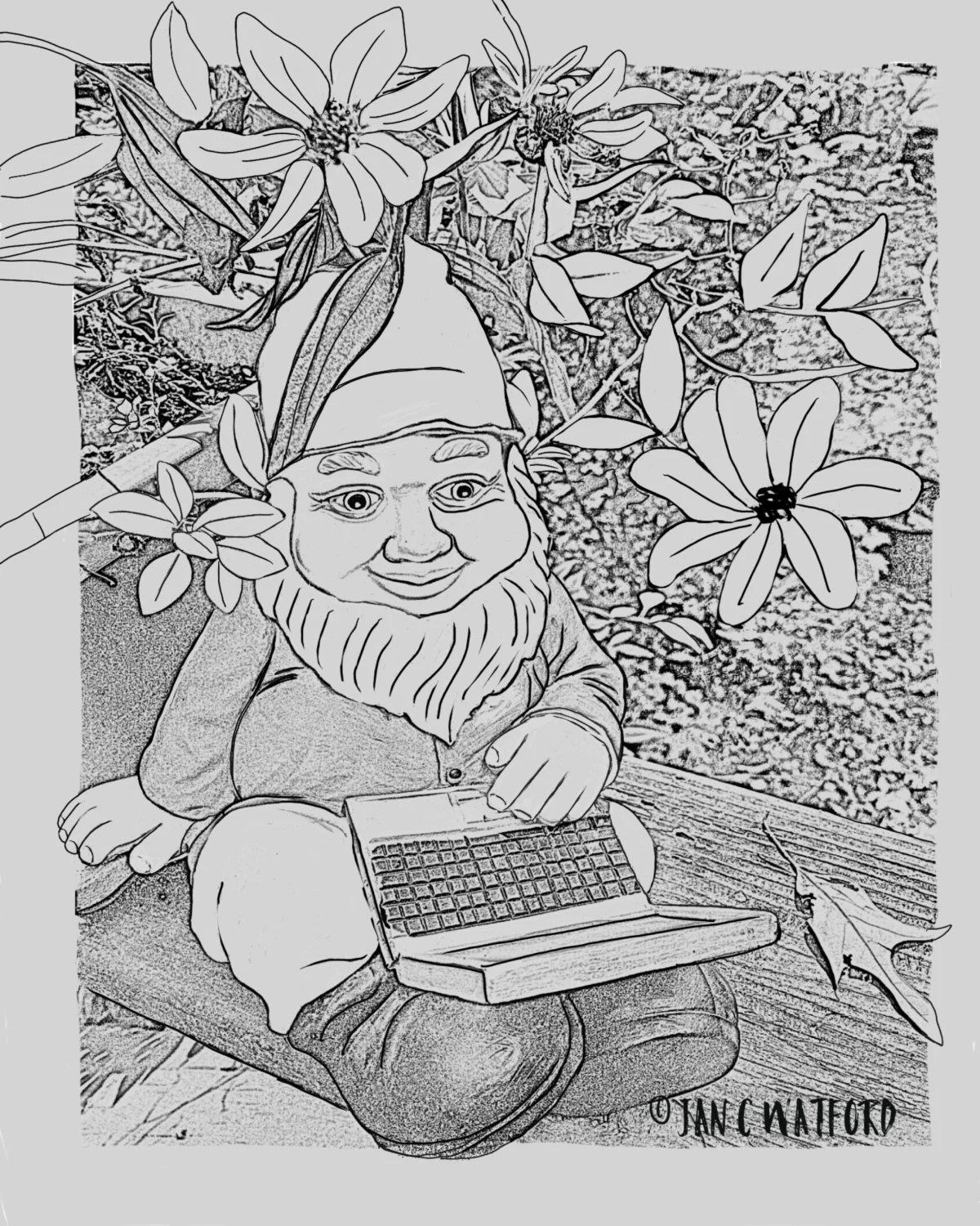 Tech Gnomegarden Adult Coloring Pages Coloring Page Gray