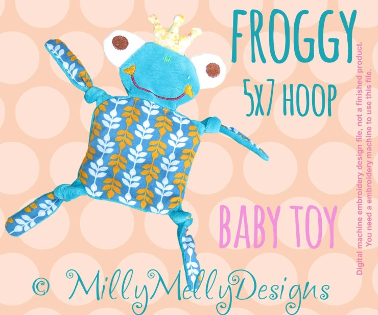 FROGGY 5x7 hoop - Baby Toy - ITH - In The Hoop - Machine Embroidery Design File, digital download
