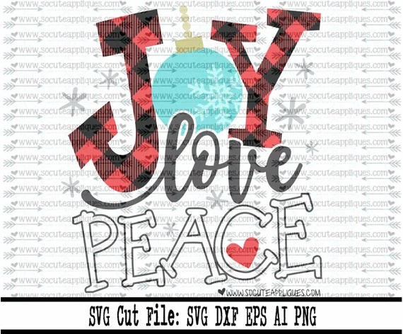 Download Joy Love Peace plaid Christmas SVG file made by