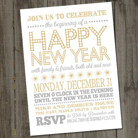 Items similar to New Years Invitation Printable 2018  New Years     Items similar to New Years Invitation Printable 2018  New Years Invitation   New Years Eve Party  New Years Eve Invitation  New Years Invite  New Year s  Eve