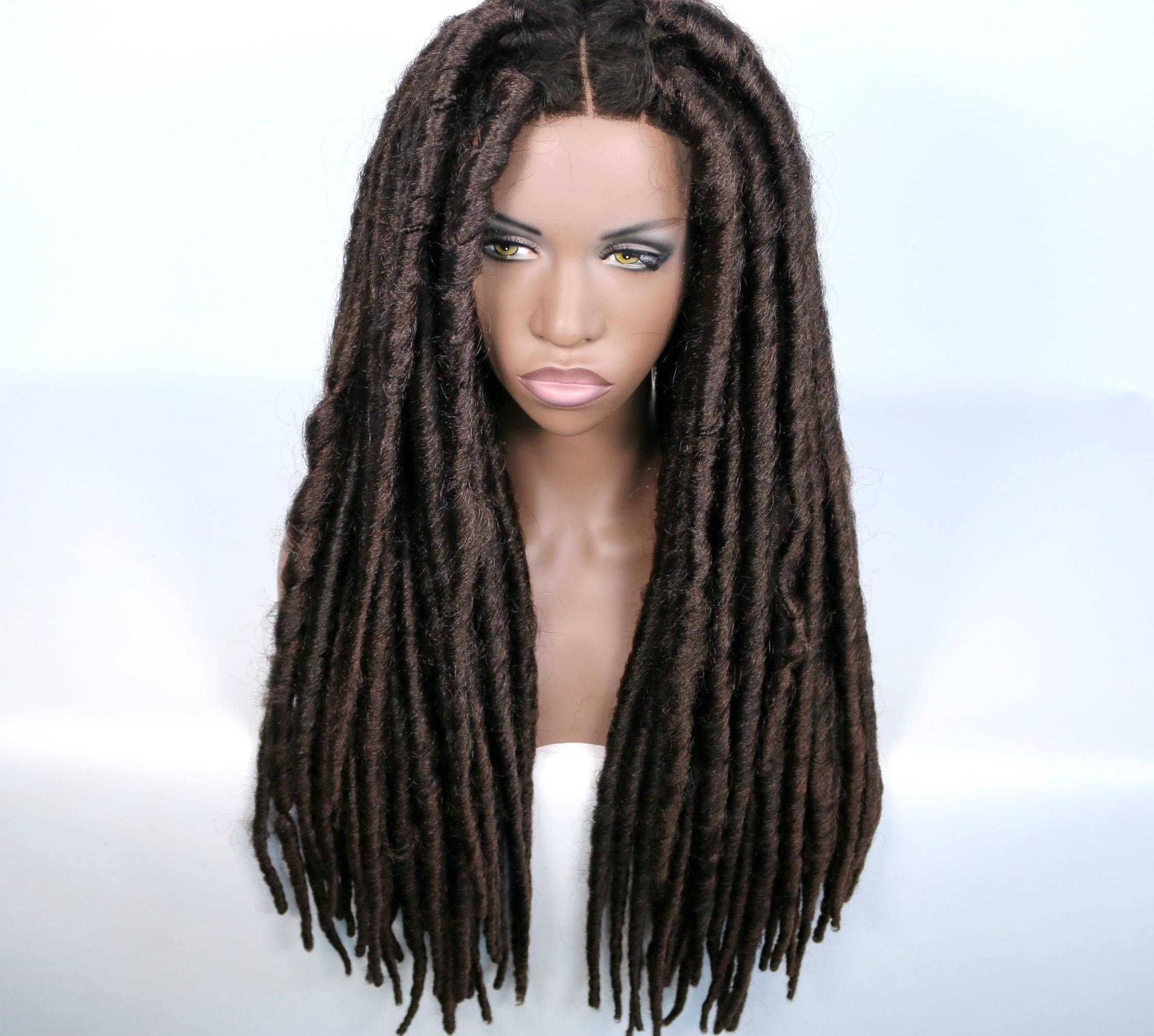 SALE Brown Dreadlocks Extra Faux Locs Crochet wig w Closure