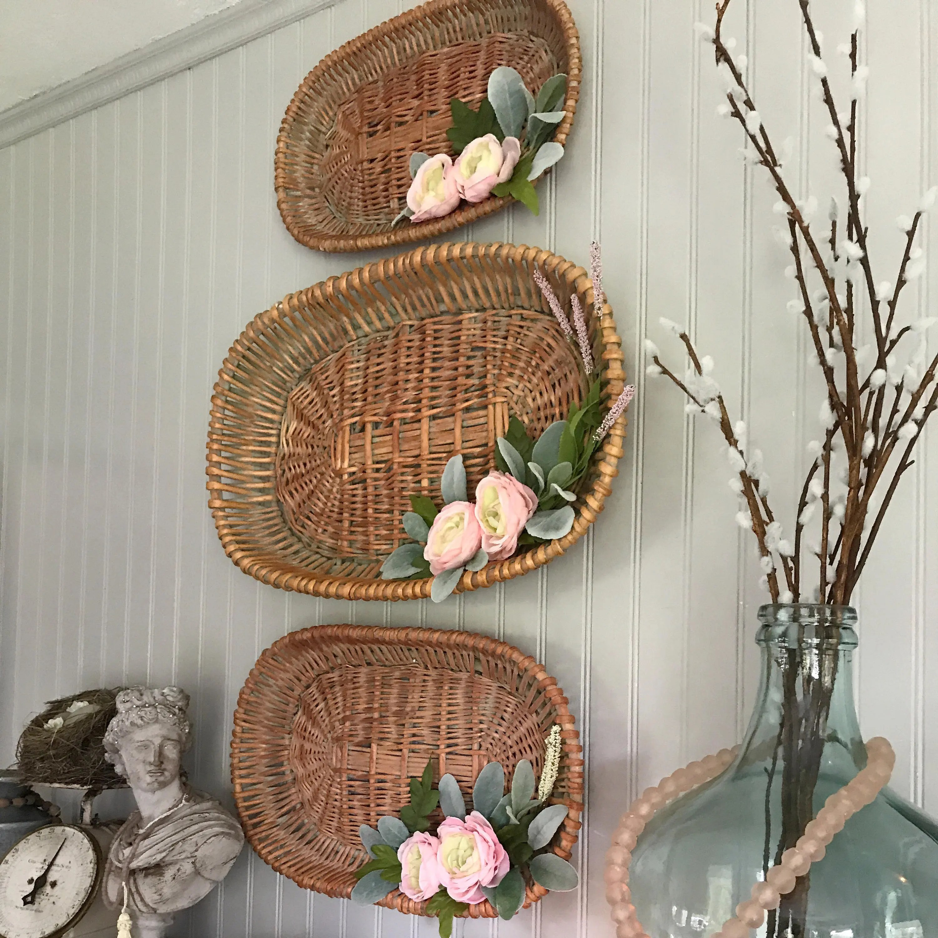 Wall Hanging Basket Basket Trio Floral Farmhouse Shabby on Decorative Wall Sconces For Flowers Hanging Baskets Delivery id=24296