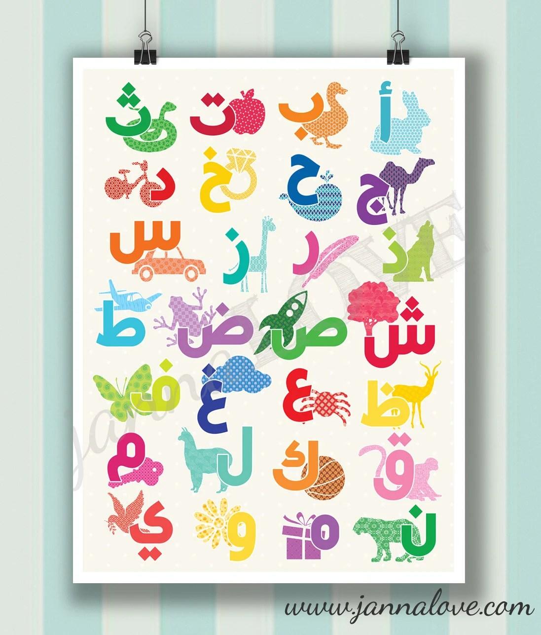 Sale Arabic Alphabet Playroom Nursery Poster Alif Baa Taa