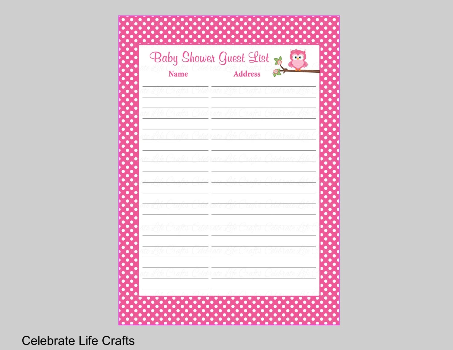 Owl Baby Shower Guest List Printable Sign In Sheet With