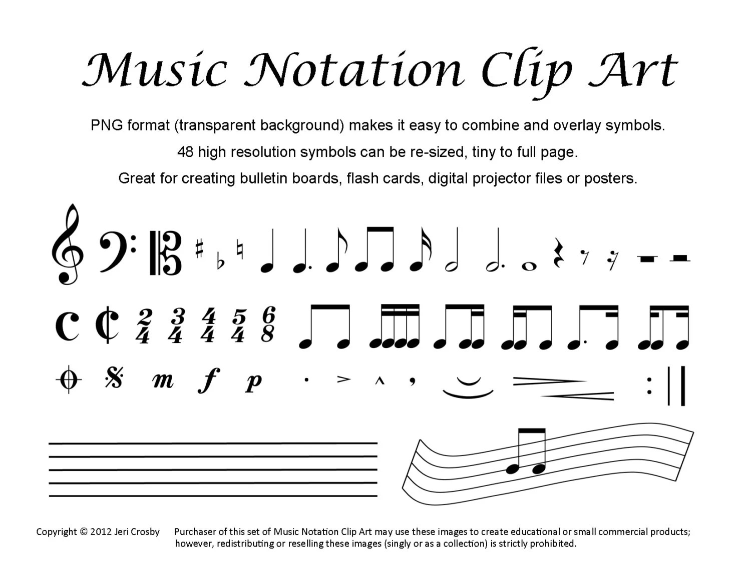 Music Notation Clip Art 48 Common Symbols